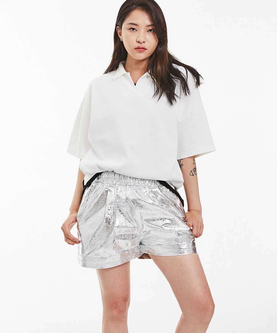 SILVER PATTERN SHORTS