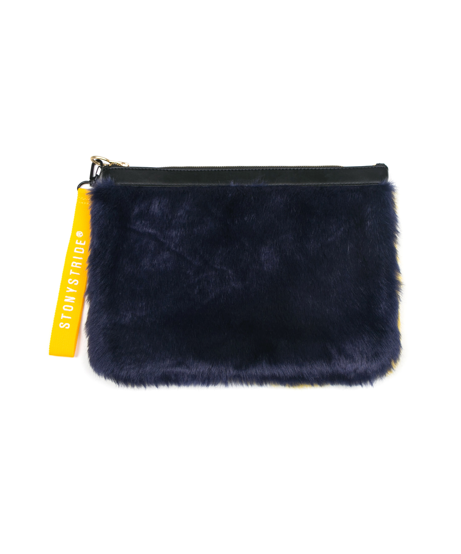Colourful two-tone fur clutchbag - yellow/navy