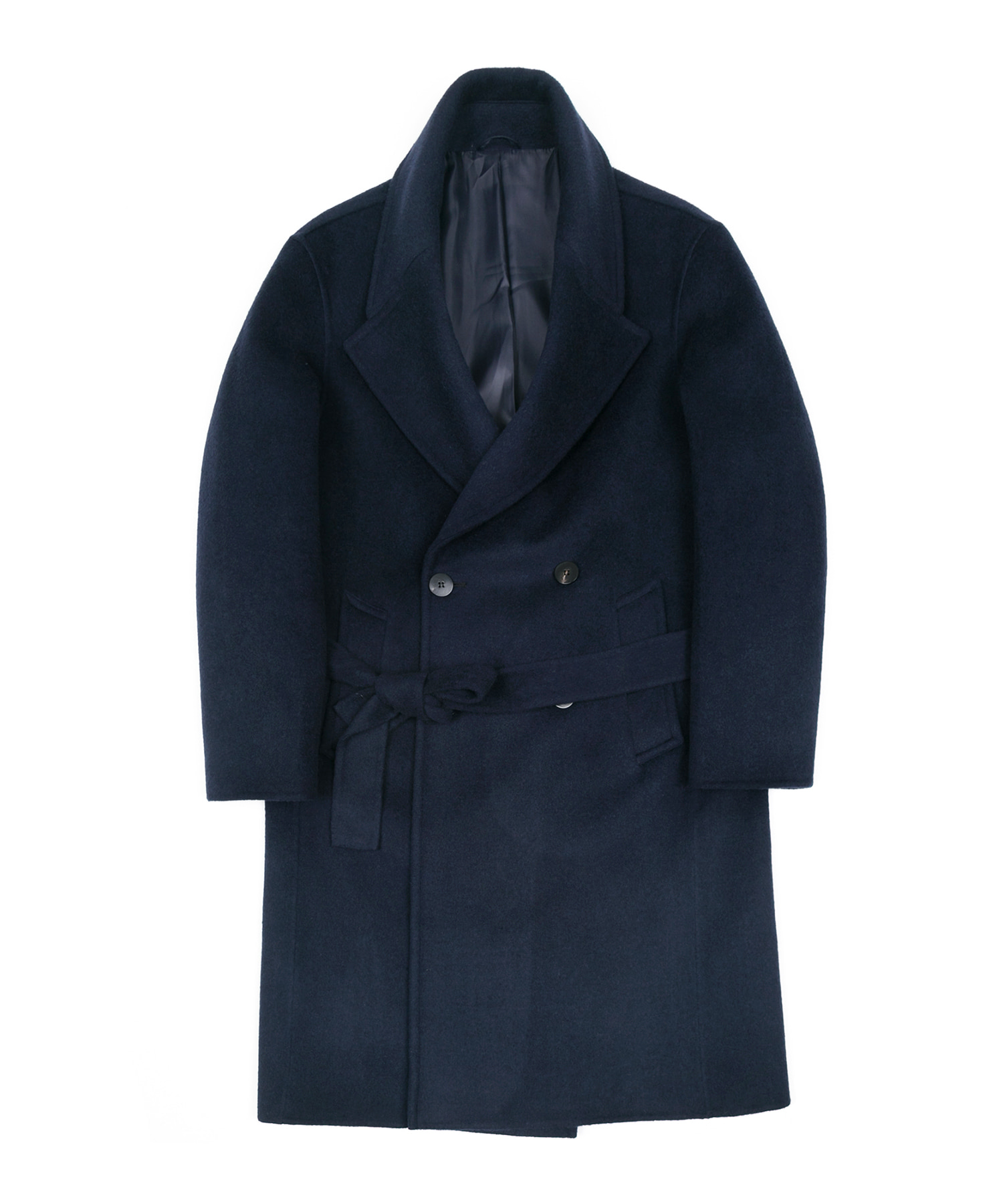 HANDMADE WOOL BREND BELTED DOUBLE COAT - NAVY
