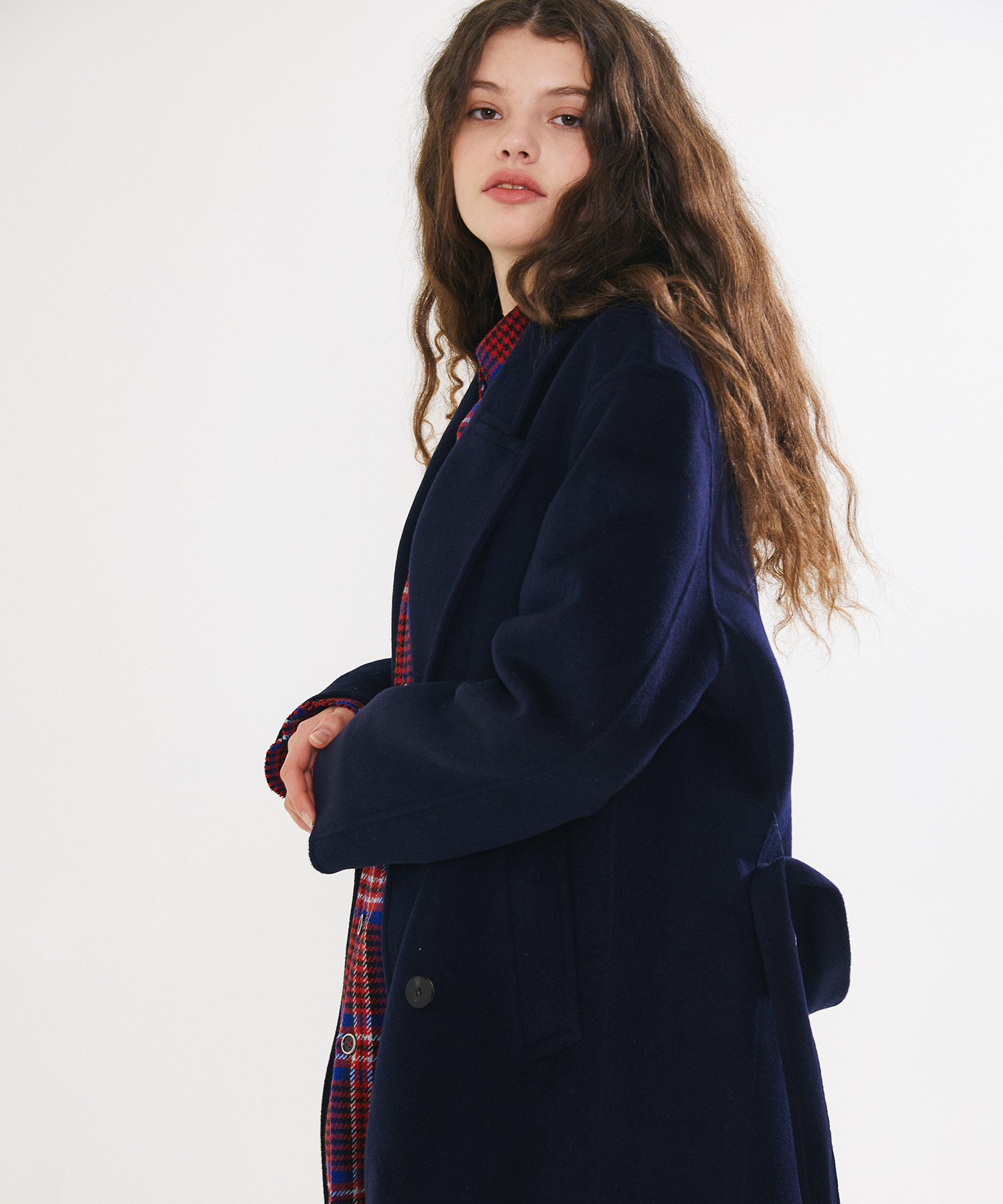 HANDMADE WOOL BREND BELTED DOUBLE COAT – NAVY