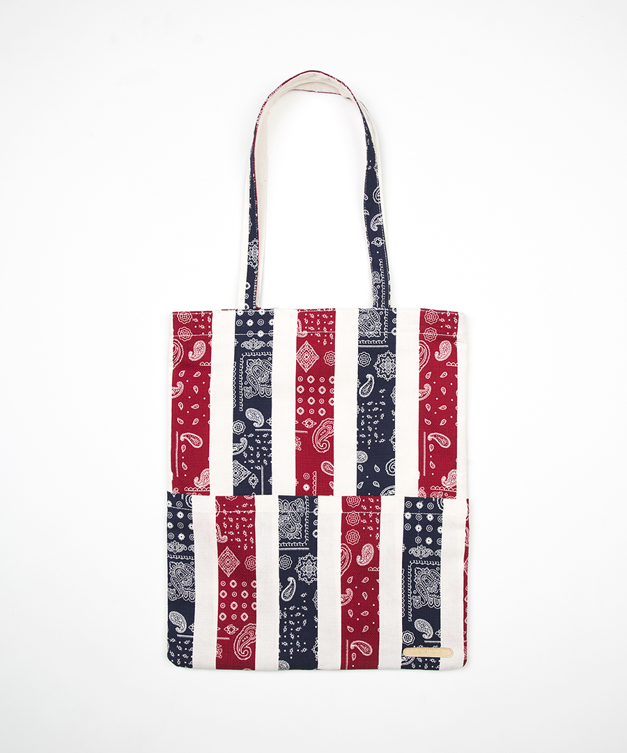 FLOWER STRIPE PATTERN ECO BAG