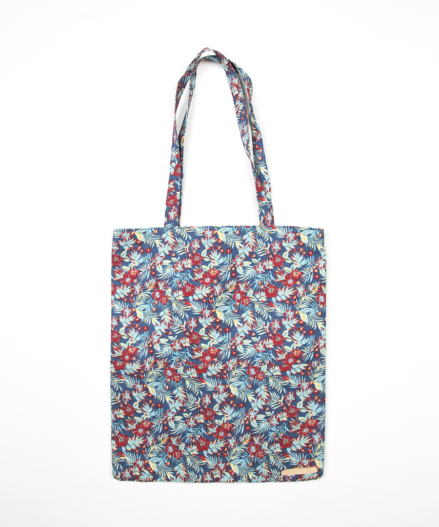 FLOWER PATTERN ECO BAG - NAVY