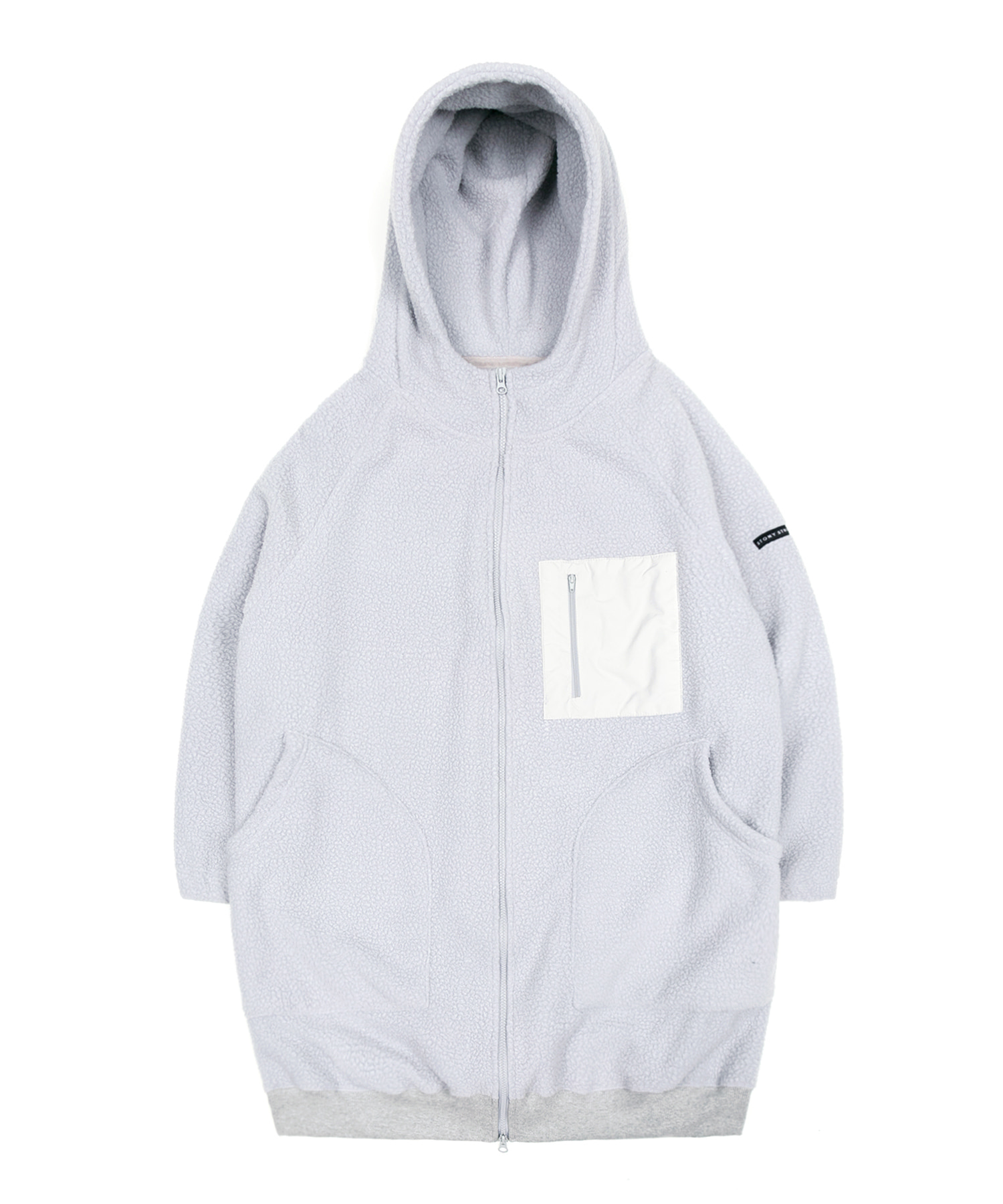 BOA FLEECE LONG HOODIE JACKET - GRAY