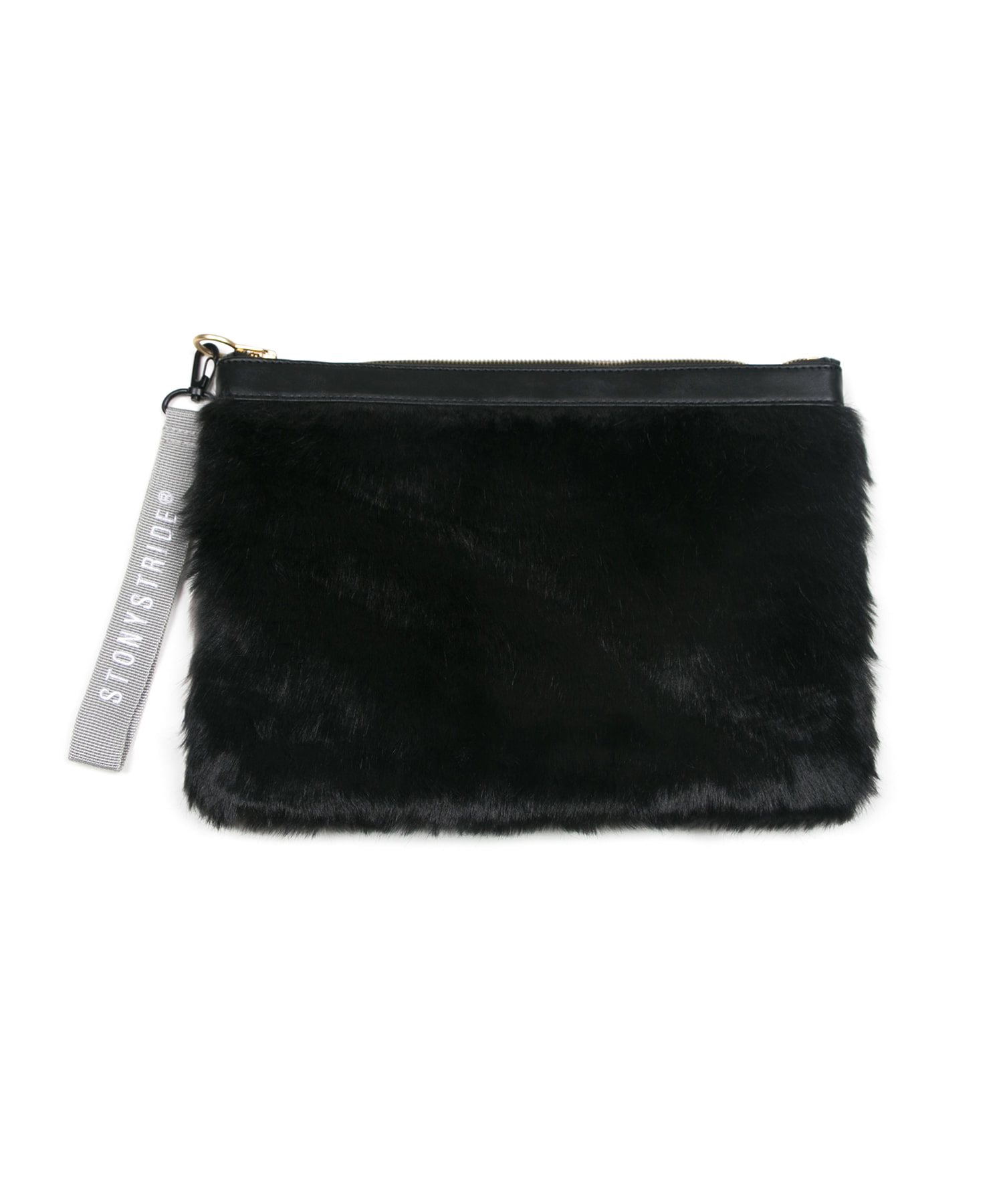 Colourful two-tone fur clutchbag - black/gray