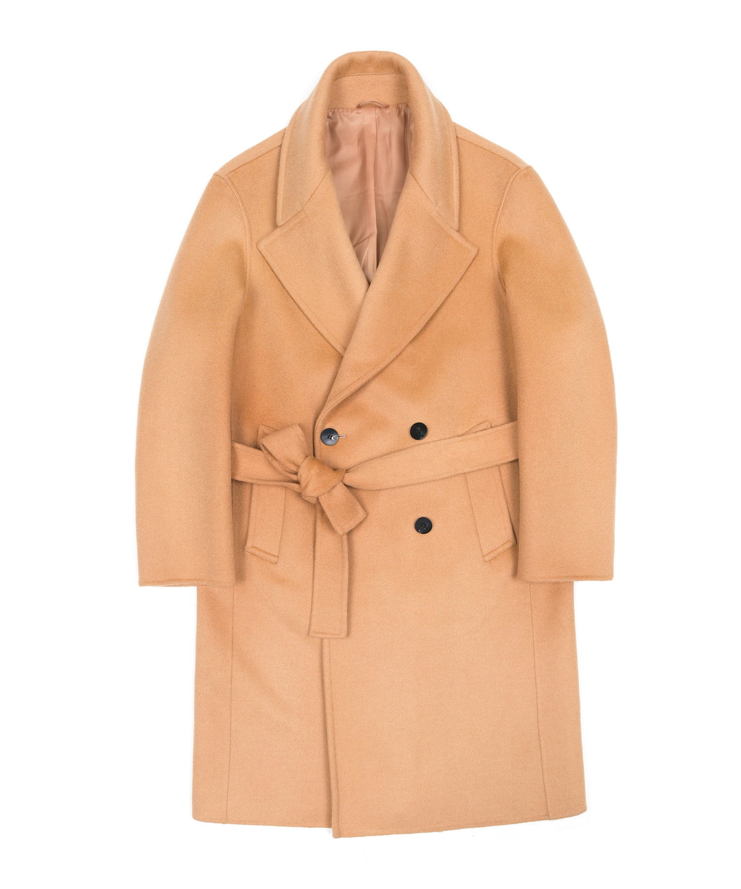 HANDMADE WOOL BREND BELTED DOUBLE COAT - BEIGE