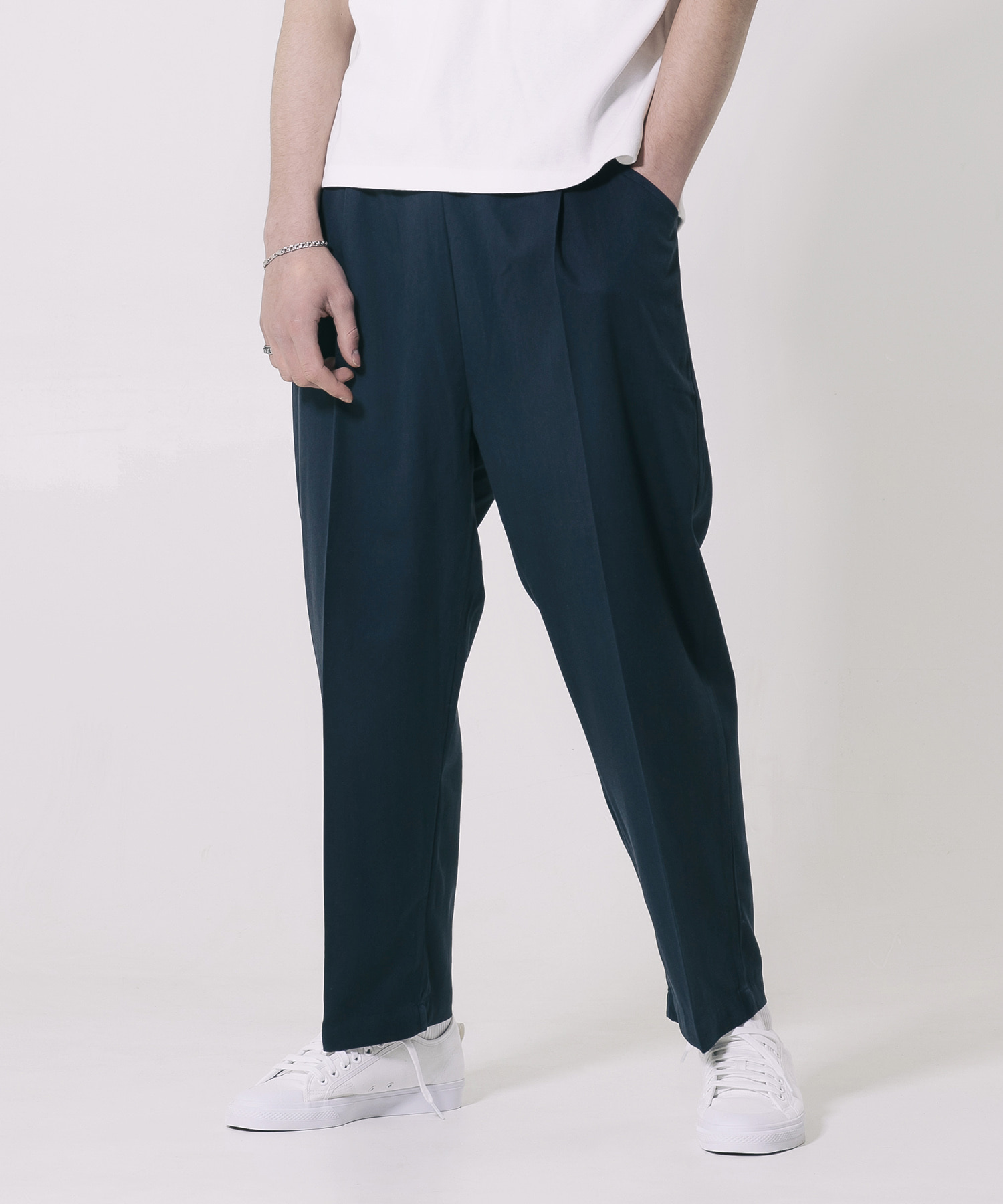 TENSELL SEMI WIDE SLACKS - NAVY