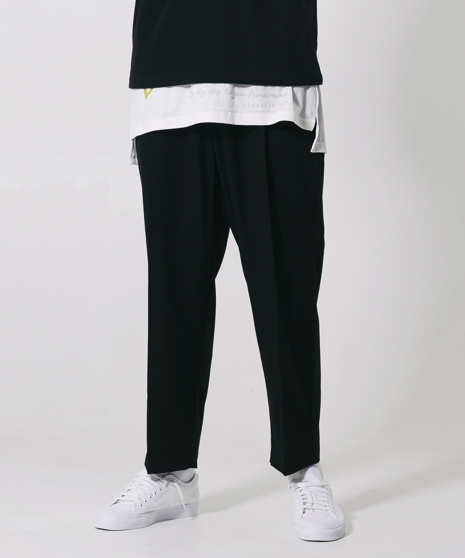 TENSELL SEMI WIDE SLACKS - BLACK
