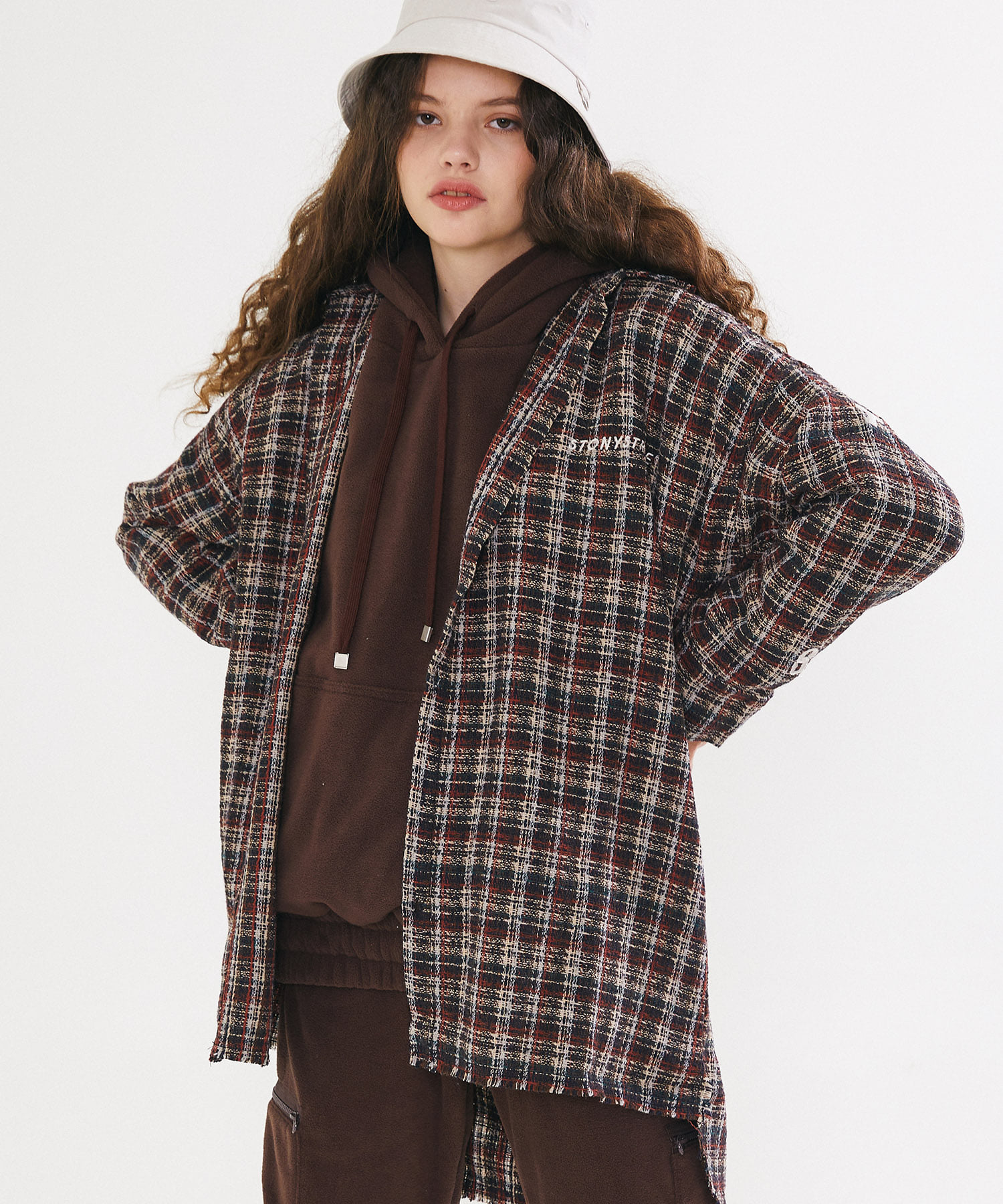 GRUNGE CHECK LONG SHIRTS – BROWN