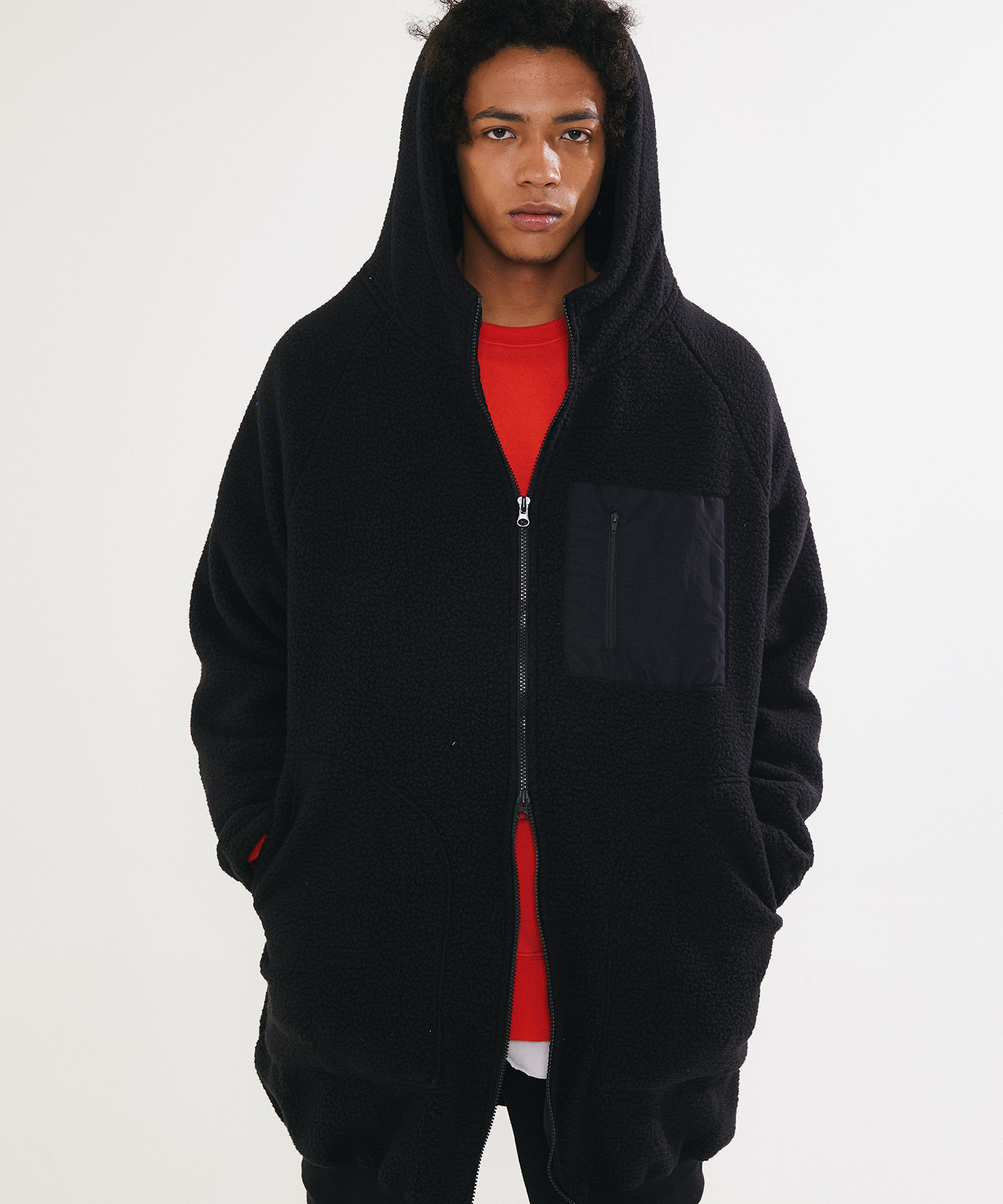 BOA FUR FLEECE LONG HOOD ZIP UP – BLACK