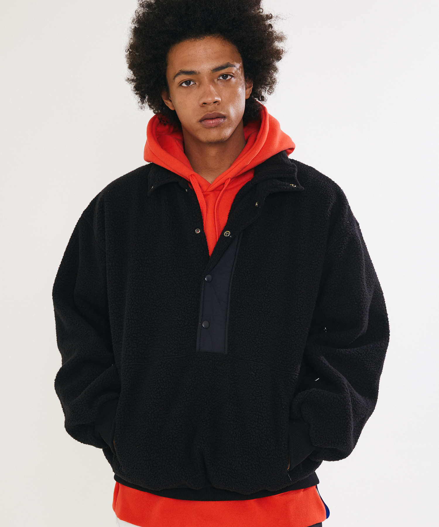 BOA FUR FLEECE ANORAK - BLACK