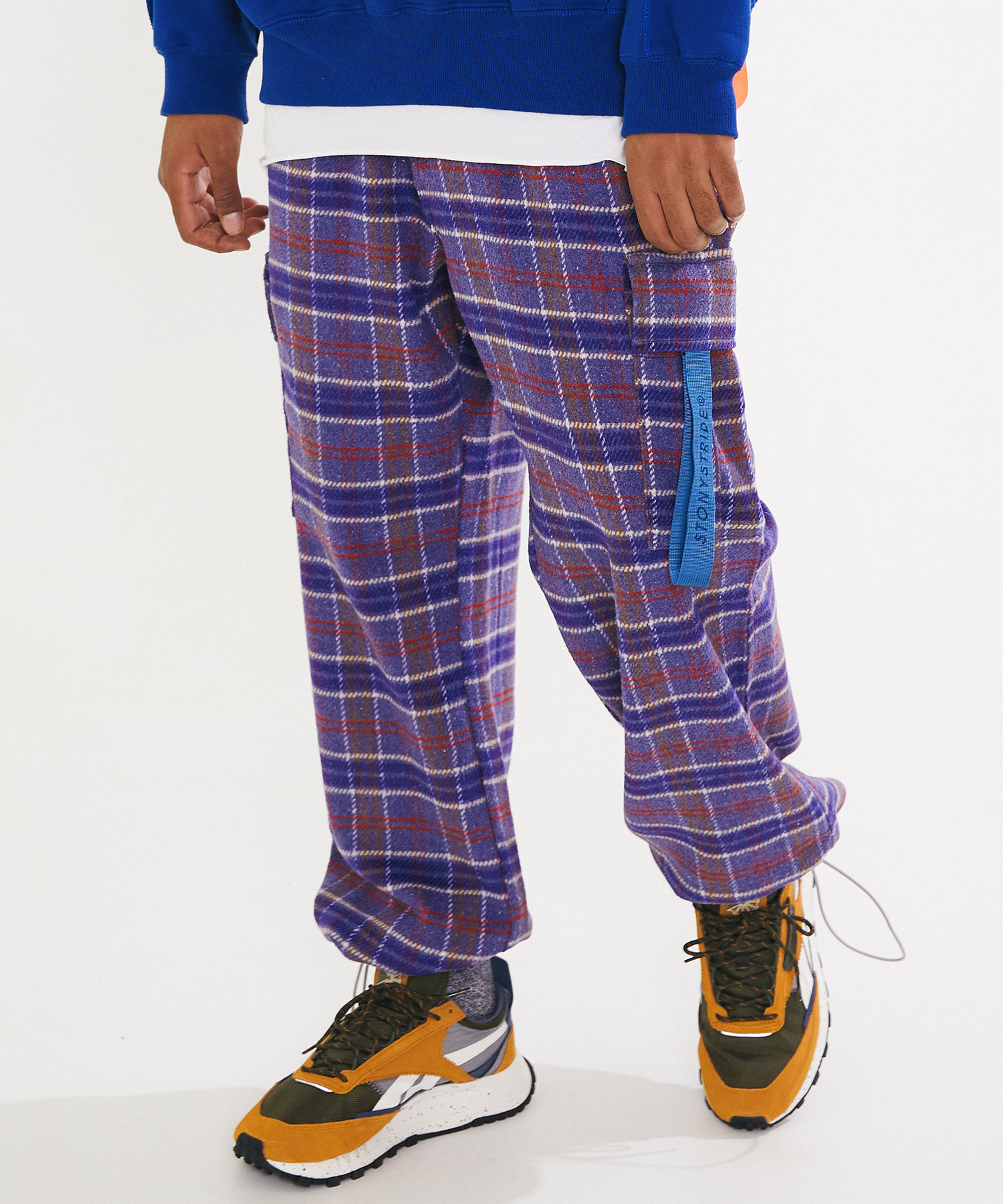M65 WOOL CHECK WIDE CARGO PANTS